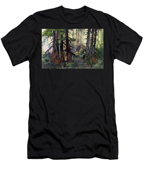 Men's T-Shirt (Slim Fit) featuring the painting A Walk In The Woods by Sherry Shipley