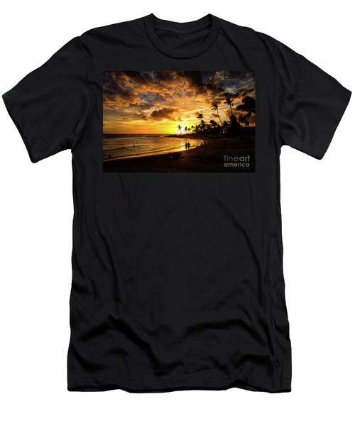 Men's T-Shirt (Athletic Fit) featuring the photograph A Walk On The Beach by M G Whittingham