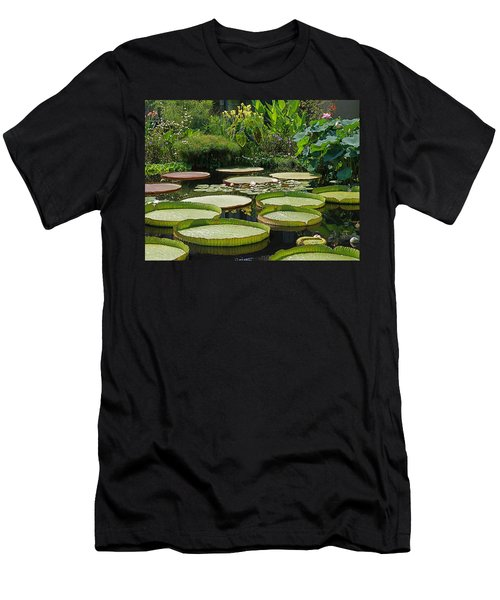 Men's T-Shirt (Slim Fit) featuring the photograph A Water Garden by Byron Varvarigos