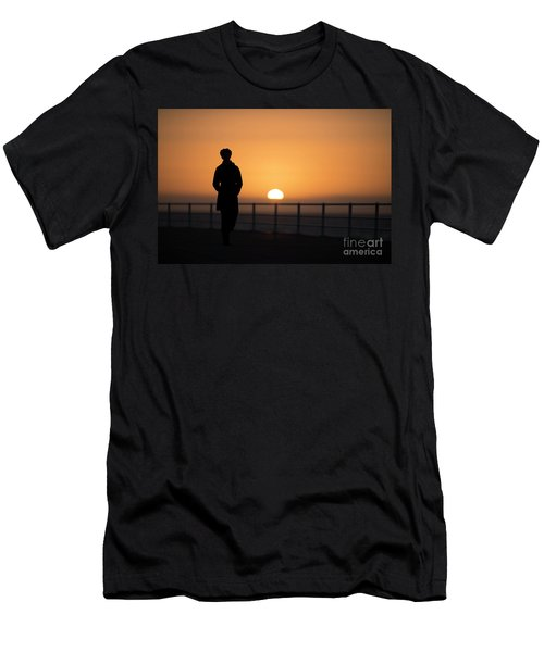A Woman Silhouetted At Sunset Men's T-Shirt (Athletic Fit)