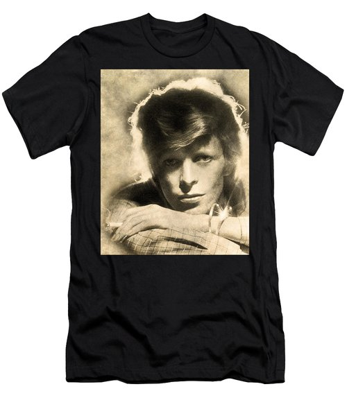 Men's T-Shirt (Athletic Fit) featuring the digital art A Young David Bowie by Anthony Murphy