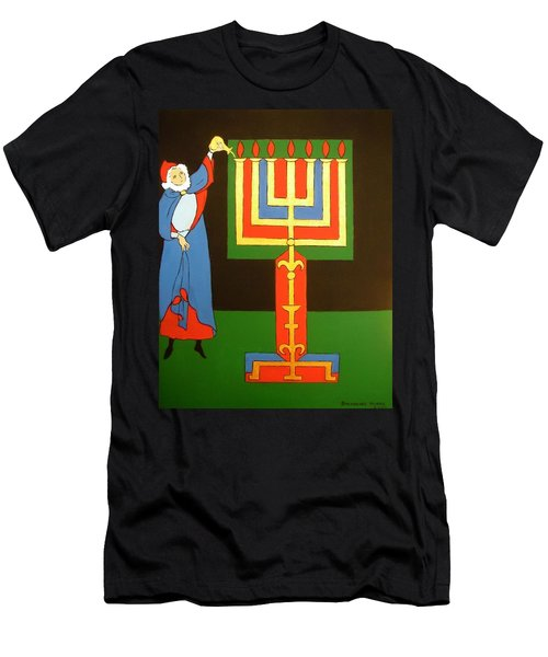 Men's T-Shirt (Slim Fit) featuring the painting Aaron Lighting The Menorah by Stephanie Moore