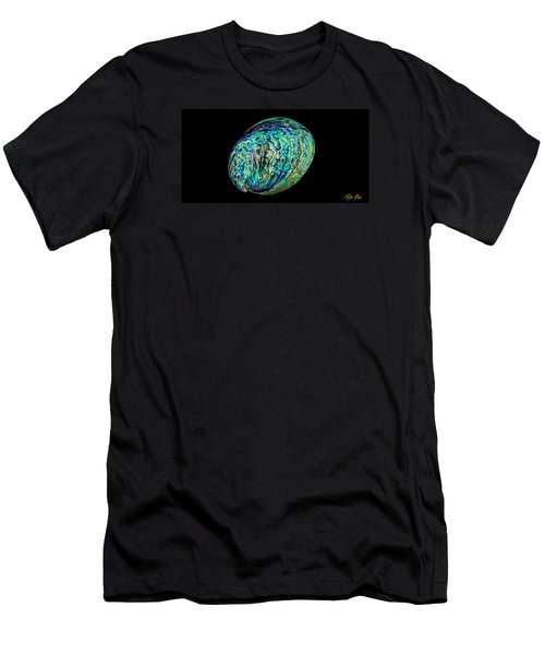 Men's T-Shirt (Athletic Fit) featuring the photograph Abalone On Black by Rikk Flohr