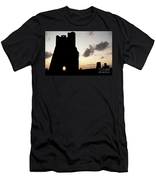 Aberystwyth Castle Tower Ruins At Sunset, Wales Uk Men's T-Shirt (Athletic Fit)