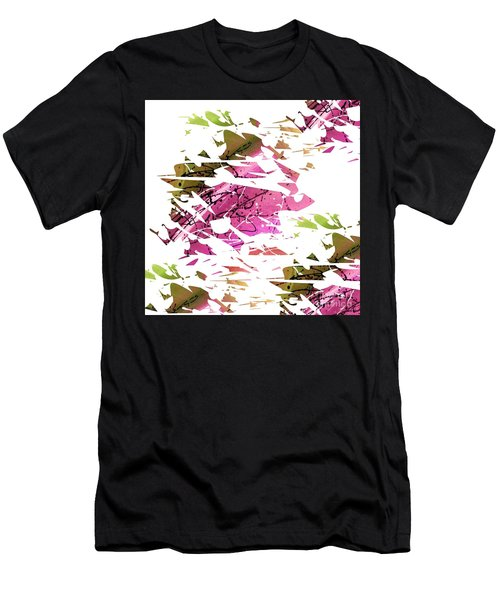 Abstract Acrylic Painting Broken Glass Purple And Green Men's T-Shirt (Athletic Fit)