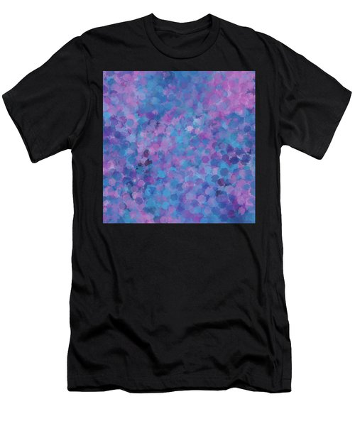 Men's T-Shirt (Athletic Fit) featuring the mixed media Abstract Blues Pinks Purples 3 by Clare Bambers