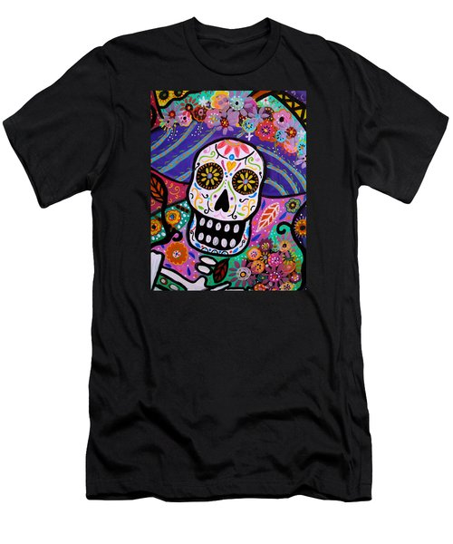 Men's T-Shirt (Slim Fit) featuring the painting Abstract Catrina by Pristine Cartera Turkus