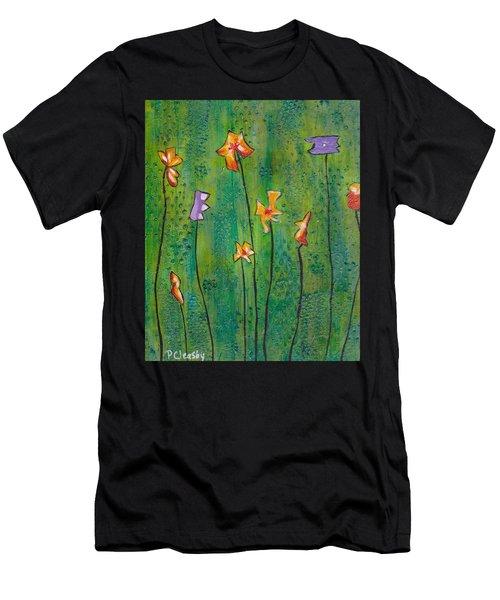 Abstract Flowers Orange, Purple Men's T-Shirt (Athletic Fit)