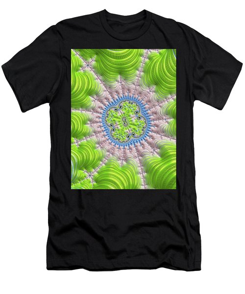 Men's T-Shirt (Athletic Fit) featuring the digital art Abstract Fractal Art Greenery Rose Quartz Serenity by Matthias Hauser