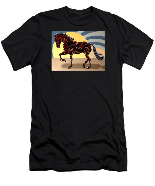 Men's T-Shirt (Slim Fit) featuring the painting Abstract Geometric Futurist Horse by Mark Webster