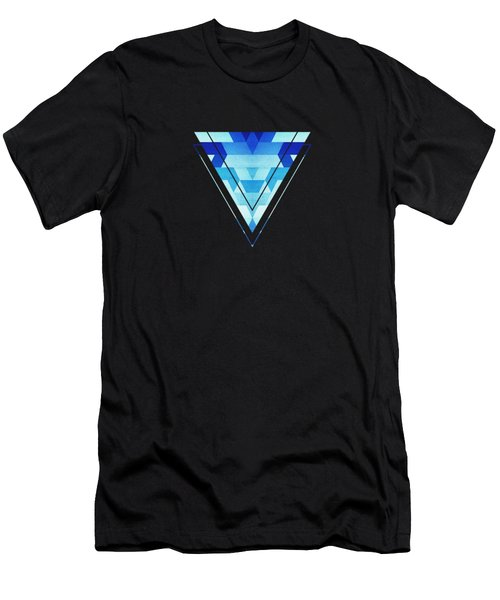 Abstract Geometric Triangle Pattern Futuristic Future Symmetry In Ice Blue Men's T-Shirt (Athletic Fit)
