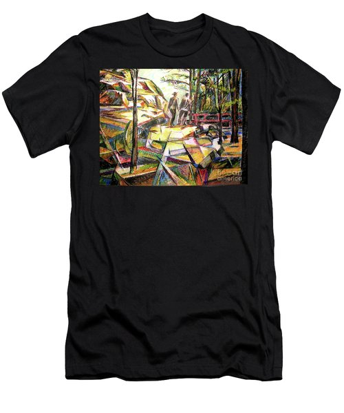 Men's T-Shirt (Slim Fit) featuring the drawing Abstract Landscape With People by Stan Esson