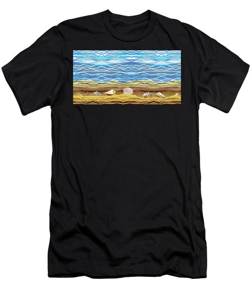 Abstract Ocean And Sea Shells Beach House Decor Men's T-Shirt (Athletic Fit)