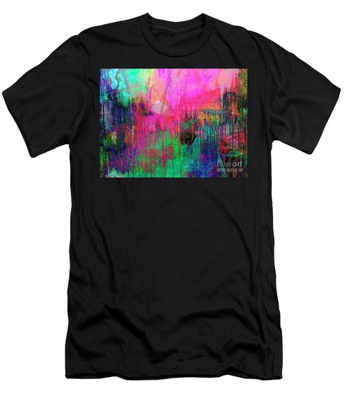 Abstract Painting 621 Pink Green Orange Blue Men's T-Shirt (Athletic Fit)