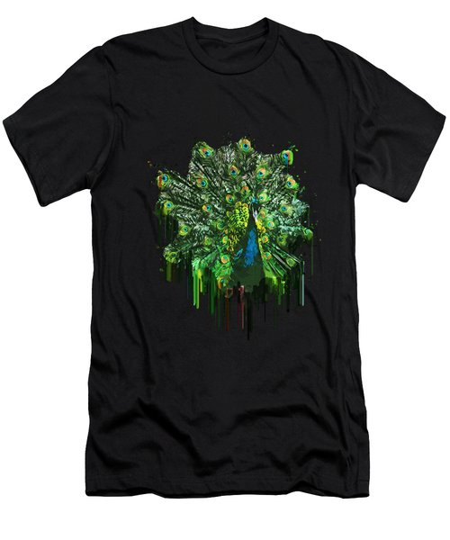 Abstract Peacock Acrylic Digital Painting Men's T-Shirt (Athletic Fit)