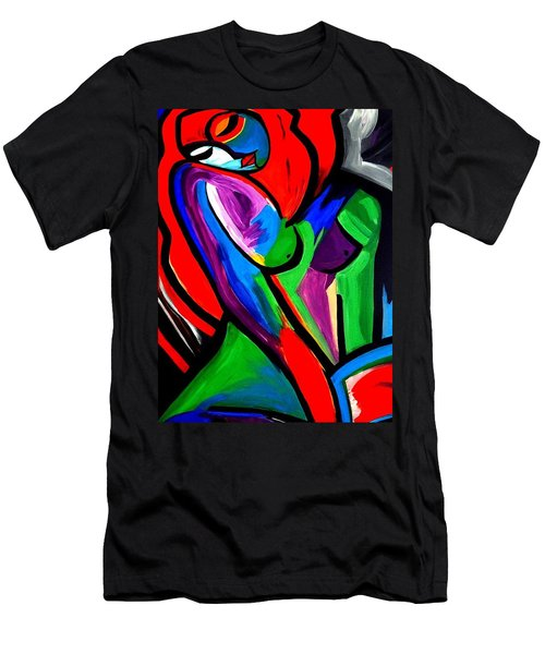 Abstract  Rain Bow Girl Men's T-Shirt (Athletic Fit)