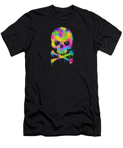 Abstract Trendy Graffiti Watercolor Skull  Men's T-Shirt (Athletic Fit)