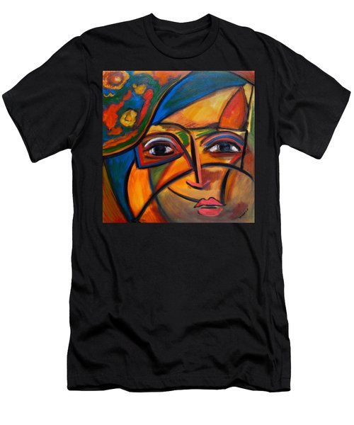 Abstract Woman With Flower Hat Men's T-Shirt (Athletic Fit)