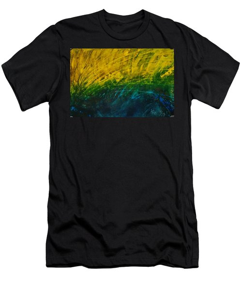 Abstract Yellow, Green With Dark Blue.   Men's T-Shirt (Athletic Fit)