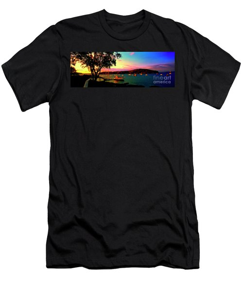 Men's T-Shirt (Slim Fit) featuring the photograph  Acadia Bar Harbor Sunset Cruises by Tom Jelen