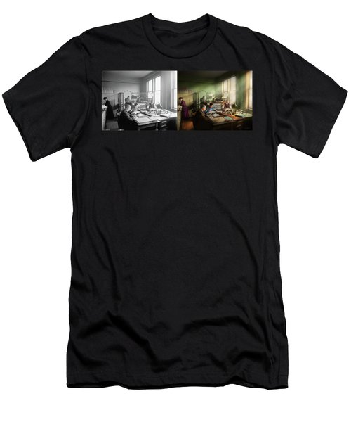 Men's T-Shirt (Athletic Fit) featuring the photograph Accountant - The- Bookkeeping Dept 1902 - Side By Side by Mike Savad