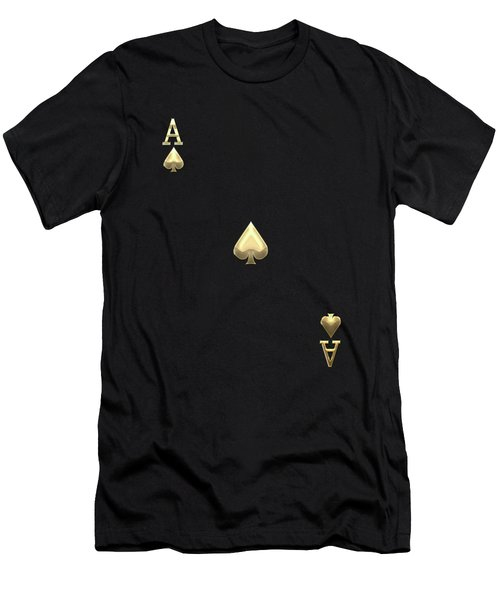 Ace Of Spades In Gold On Black   Men's T-Shirt (Slim Fit) by Serge Averbukh