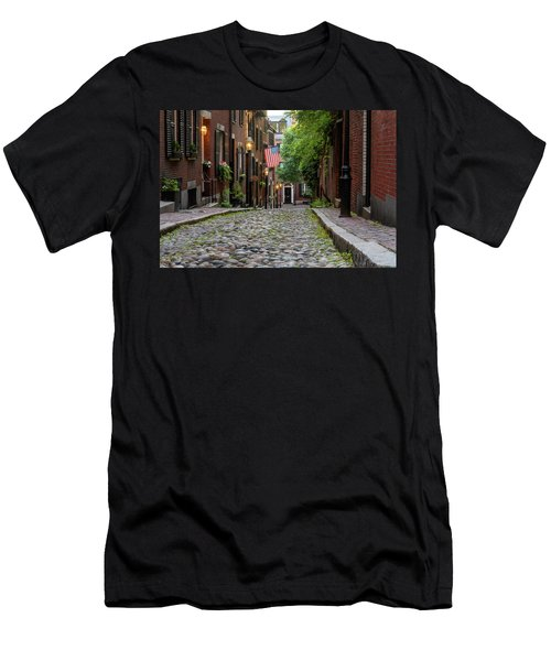 Men's T-Shirt (Athletic Fit) featuring the photograph Acorn St. Boston Ma. by Michael Hubley