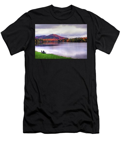 Adirondack Chairs In The Adirondacks. Mirror Lake Lake Placid Ny New York Mountain Men's T-Shirt (Athletic Fit)