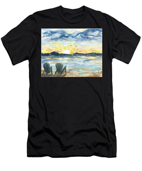 Men's T-Shirt (Athletic Fit) featuring the painting Adirondack Chairs With A View by Reed Novotny
