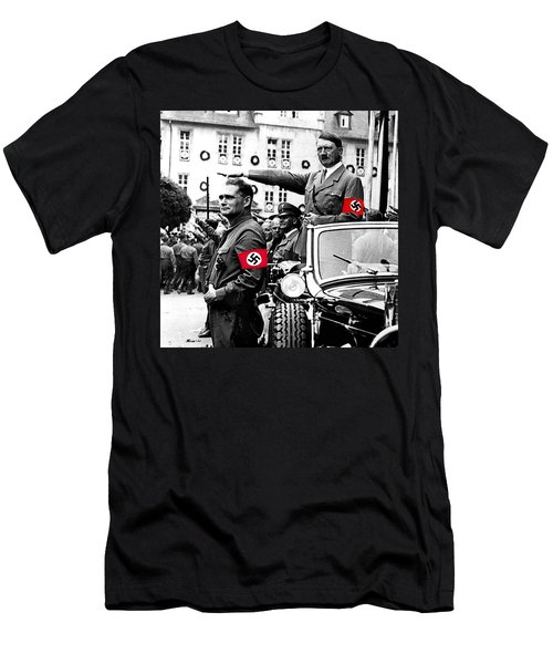 Adolf Hitler Giving The Nazi Salute From A Mercedes #3 C. 1934-2015 Men's T-Shirt (Slim Fit) by David Lee Guss