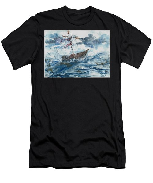 Men's T-Shirt (Athletic Fit) featuring the painting Adrift At Sea by Reed Novotny