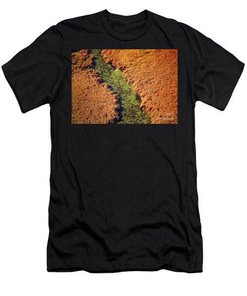 Aerial Farm Stream Lillies  Men's T-Shirt (Athletic Fit)