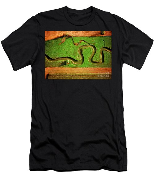 aerial, farm, stream, northern, Illinois, farms, meandering  Men's T-Shirt (Athletic Fit)