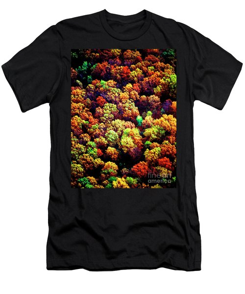 Men's T-Shirt (Athletic Fit) featuring the photograph Aerial Farm Tree Tops Fall Ff by Tom Jelen