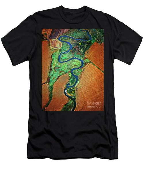 Men's T-Shirt (Athletic Fit) featuring the photograph Aerial Farm Wet Lands Stream  by Tom Jelen