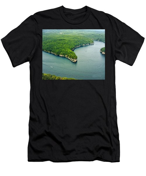 Aerial Image Of  Long Point Cliff Men's T-Shirt (Athletic Fit)