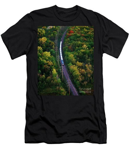 Aerial Of  Commuter Train  Men's T-Shirt (Athletic Fit)
