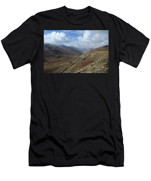 Aerial Shot Of Mountainous Karakoram Highway Babusar Pass Pakistan Men's T-Shirt (Athletic Fit)