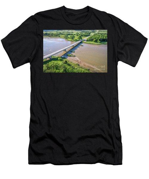 aerial view of Niobrara River in Nebraska Sand Hills Men's T-Shirt (Athletic Fit)
