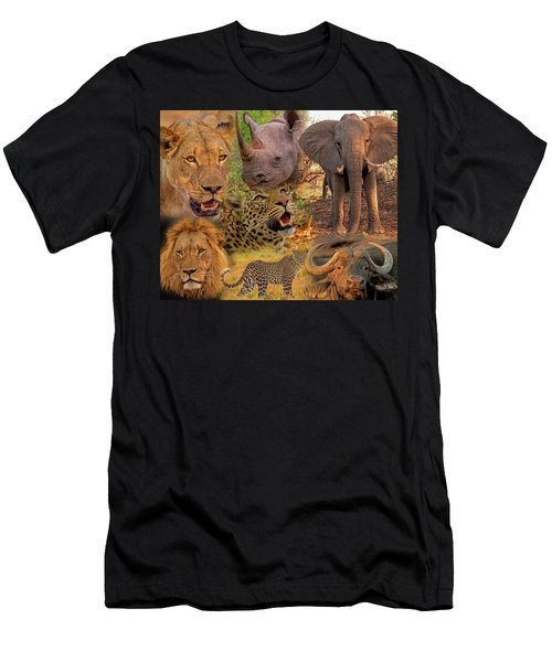 Men's T-Shirt (Athletic Fit) featuring the photograph African Big Five Montage by Larry Linton