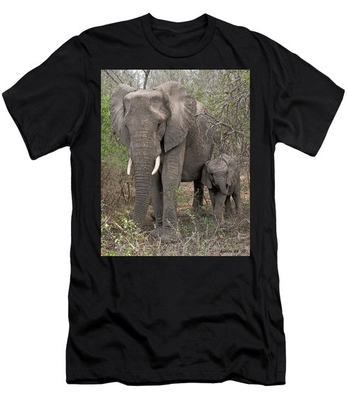 Men's T-Shirt (Athletic Fit) featuring the digital art African Elephants by Larry Linton