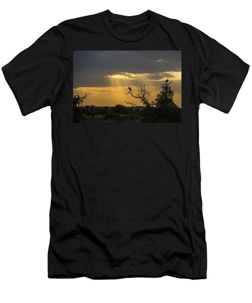 Men's T-Shirt (Slim Fit) featuring the tapestry - textile African Sunset 2 by Kathy Adams Clark