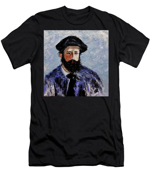 Men's T-Shirt (Slim Fit) featuring the painting After Monet-self Portrait With A Beret  by Cristina Mihailescu