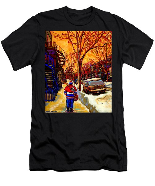 After The Hockey Game A Winter Walk At Sundown Montreal City Scene Painting  By Carole Spandau Men's T-Shirt (Athletic Fit)