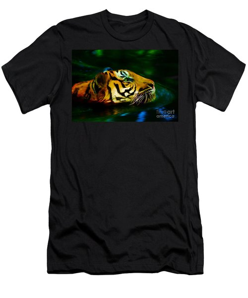 Afternoon Swim - Tiger Men's T-Shirt (Athletic Fit)