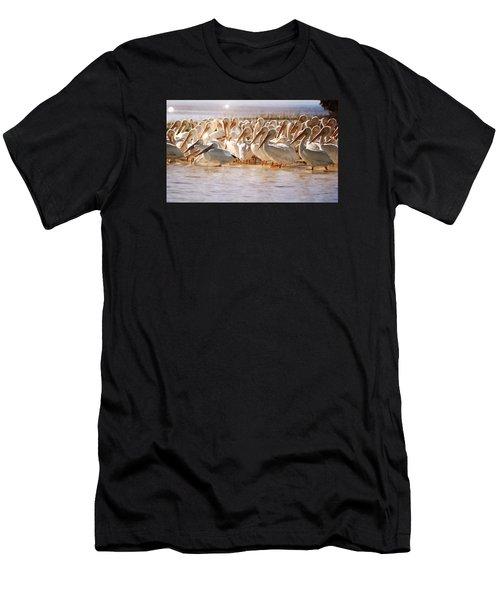 Aglow White Pelicans Men's T-Shirt (Athletic Fit)