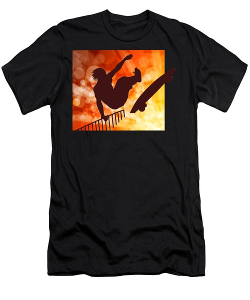 Airborne Skateboarder Silo Red Orange And Yellow Bokkeh Men's T-Shirt (Athletic Fit)