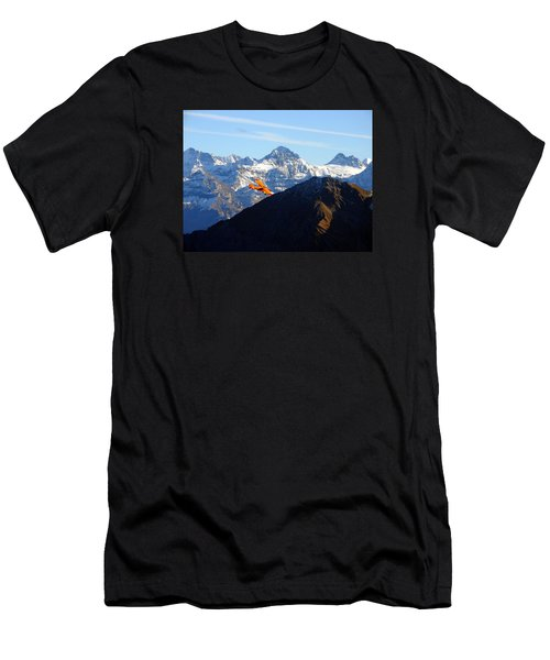 Airplane In Front Of The Alps Men's T-Shirt (Slim Fit) by Ernst Dittmar