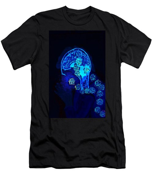 Men's T-Shirt (Slim Fit) featuring the painting Al In The Mind Black Light View by Lisa Brandel
