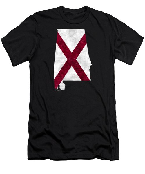 Alabama Map Art With Flag Design Men's T-Shirt (Athletic Fit)
